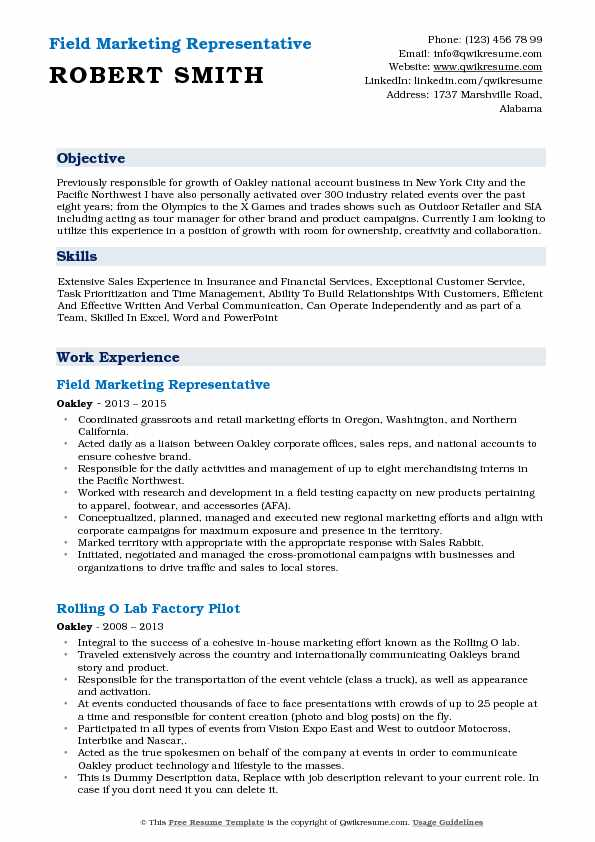 field marketing representative resume samples