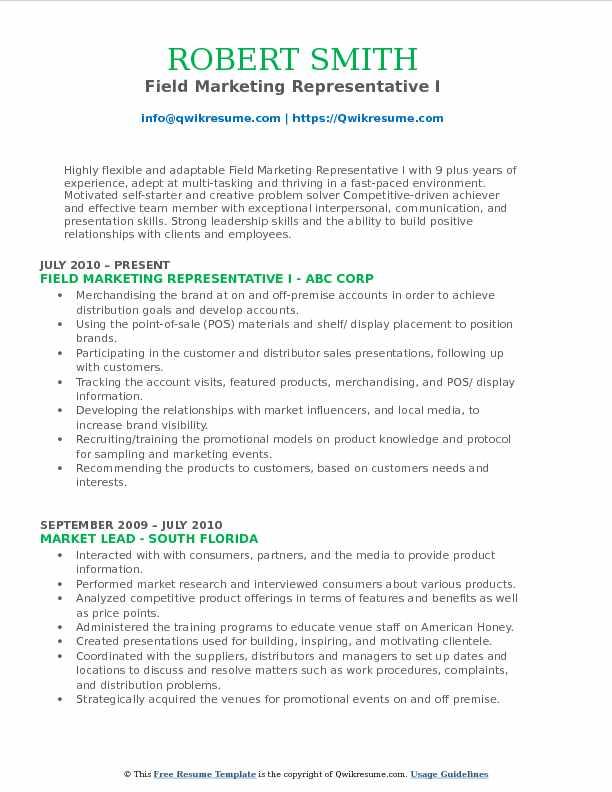 Field Marketing Representative I Resume Model