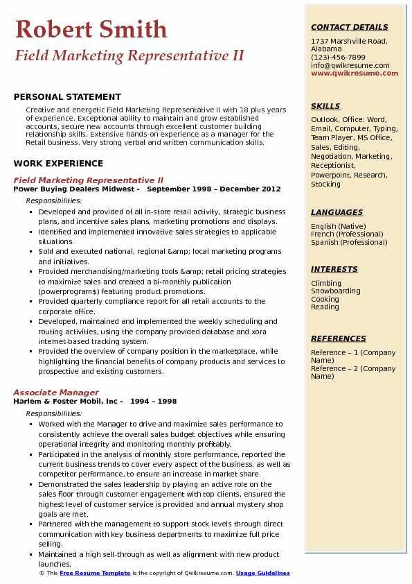 Field Marketing Representative II Resume Model