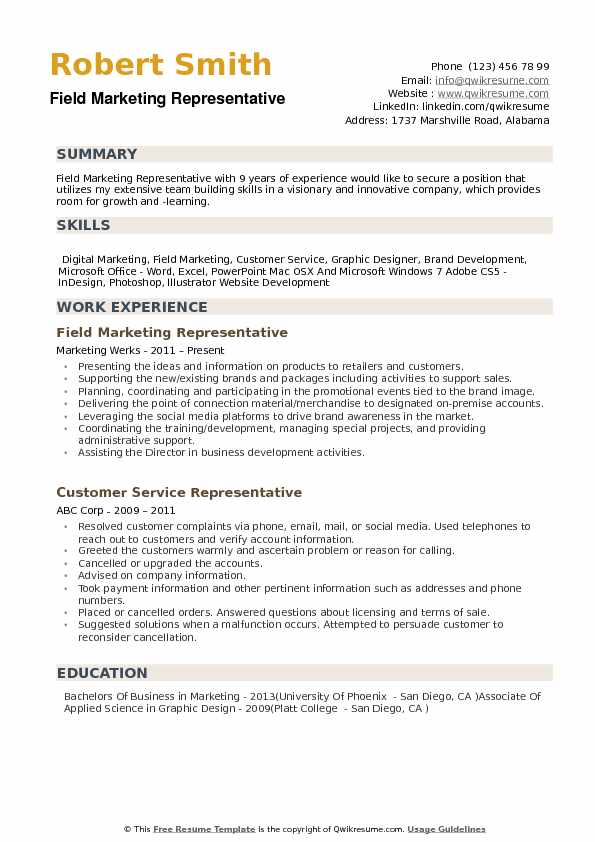 Field Marketing Representative Resume example