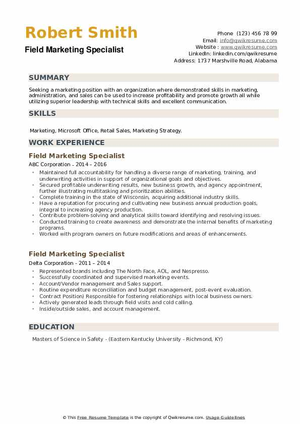 Field Marketing Specialist Resume example