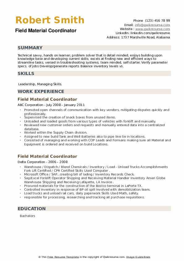 Field Material Coordinator Resume example