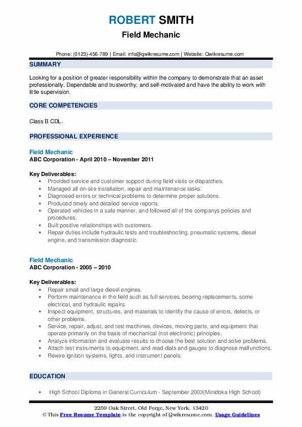 Field Mechanic Resume example