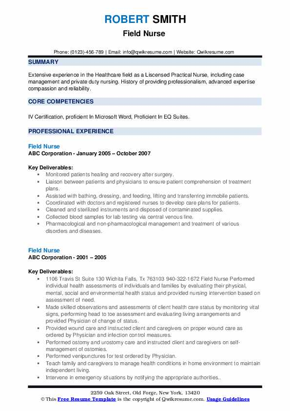 Field Nurse Resume example