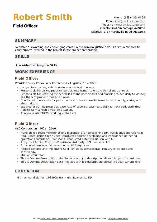 Field Officer Resume example