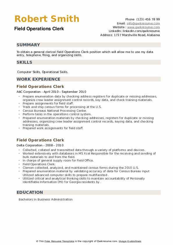 Field Operations Clerk Resume example