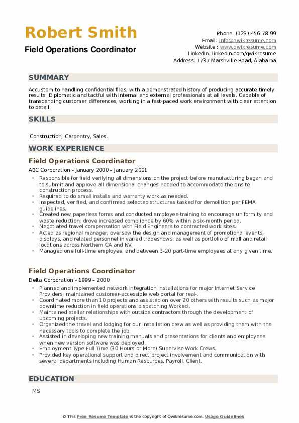Field Operations Coordinator Resume example