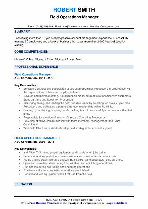 Field Operations Manager Resume example