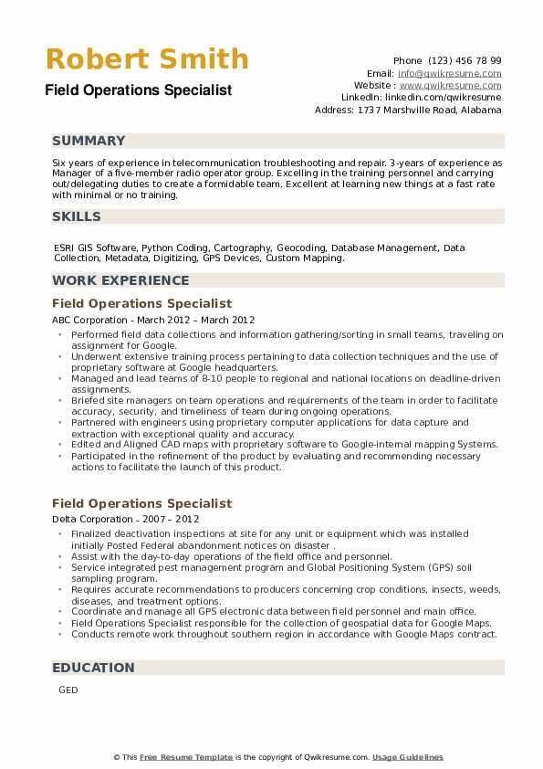 Field Operations Specialist Resume example