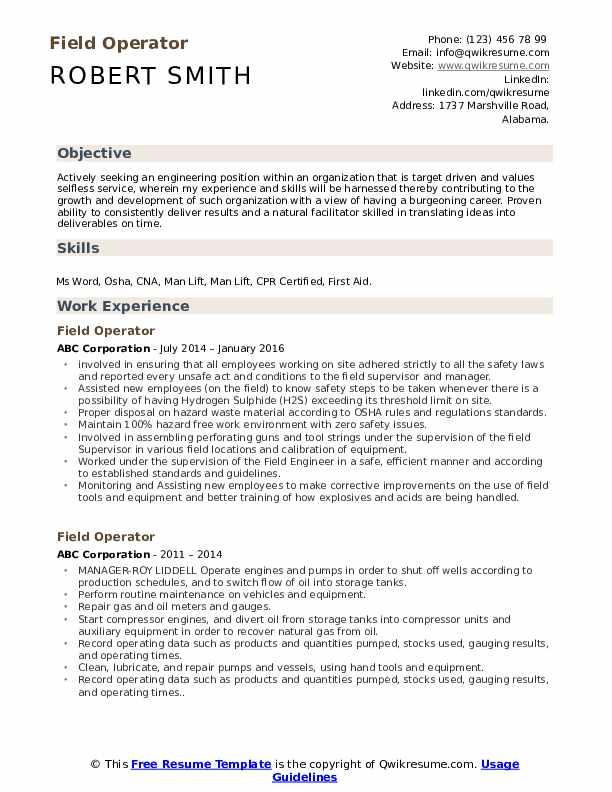 Field Operator Resume Template