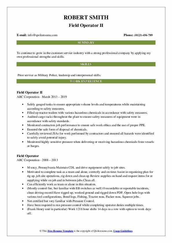 Field Operator II Resume Sample