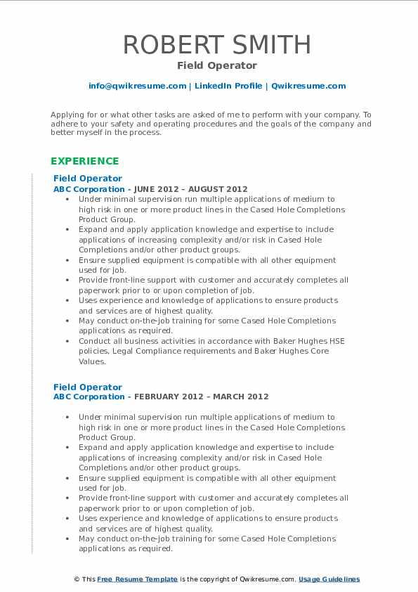 Field Operator Resume Format