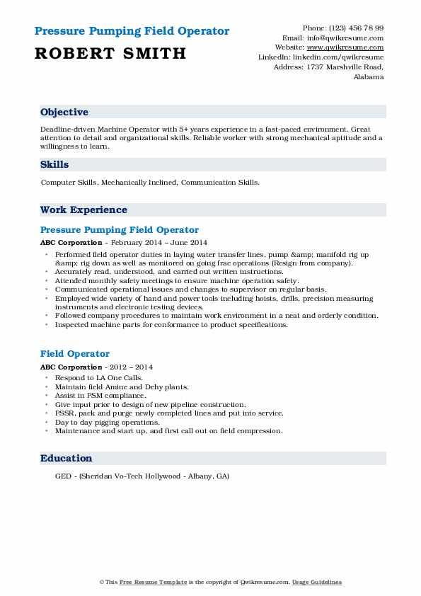 Pressure Pumping Field Operator Resume Model