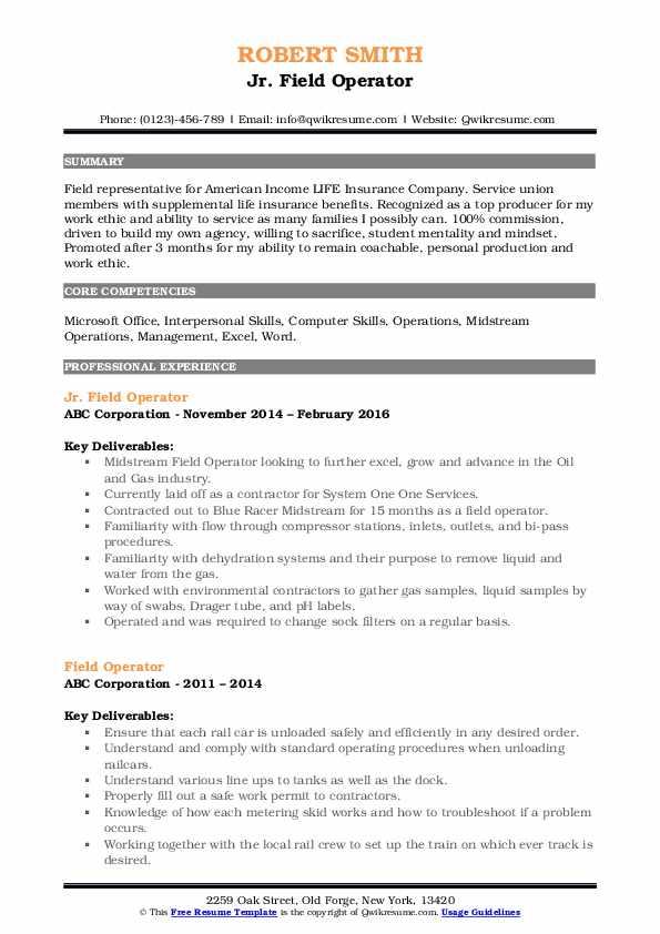Jr. Field Operator Resume Format