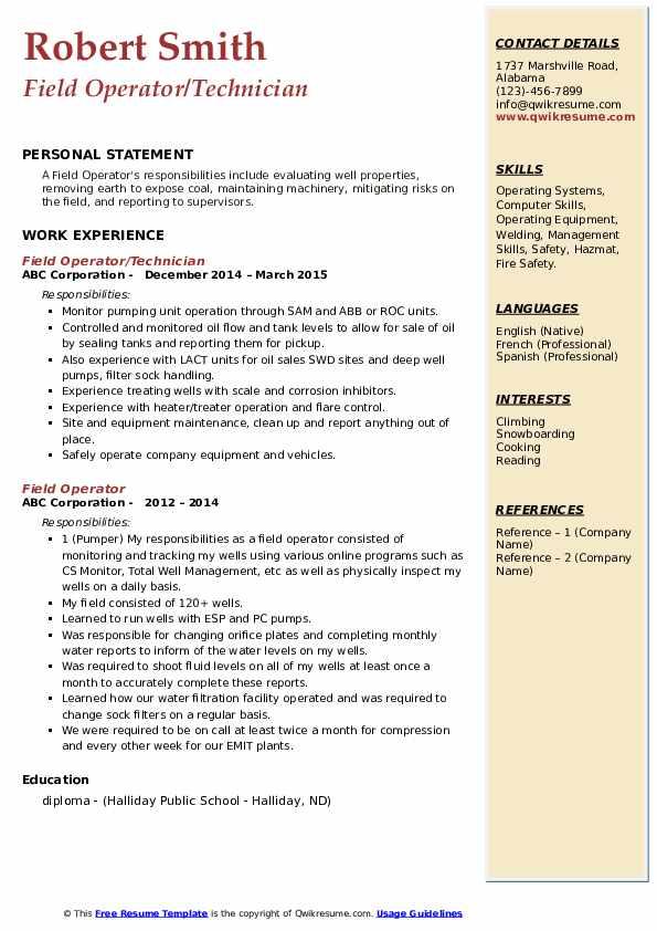 Field Operator/Technician Resume Format