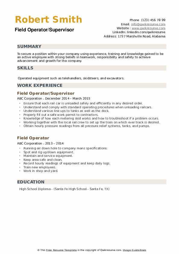 Field Operator/Supervisor Resume Model