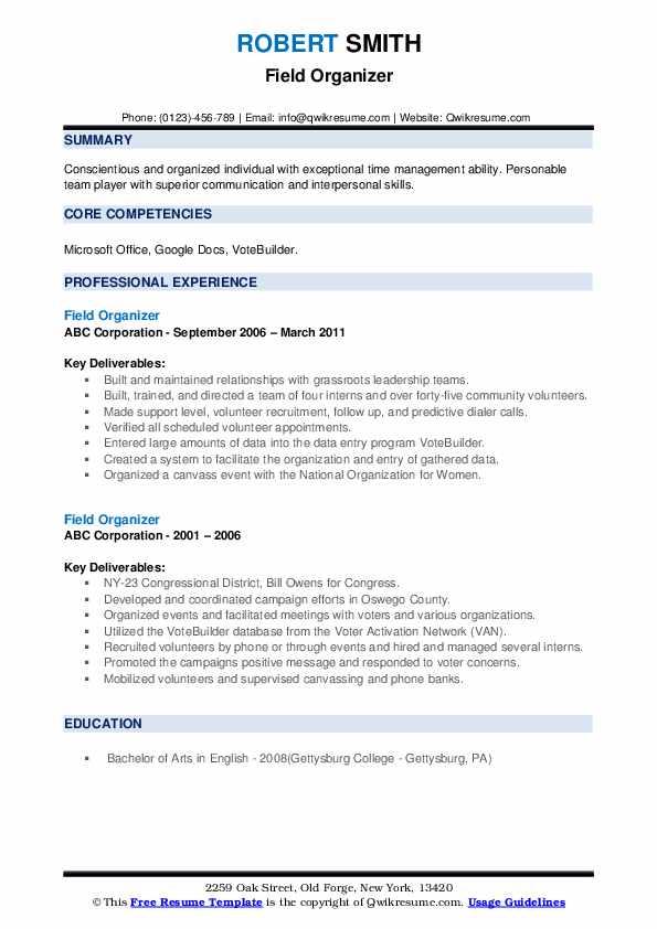 Field Organizer Resume example