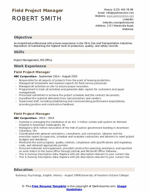 Field Project Manager Resume example