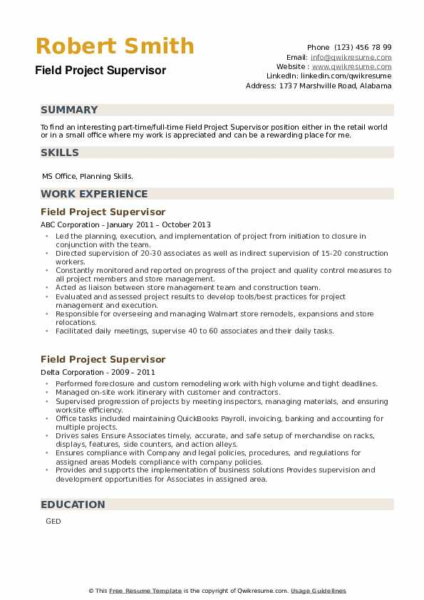 Field Project Supervisor Resume example