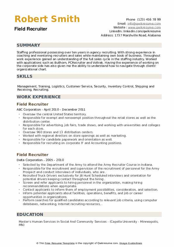 Field Recruiter Resume example