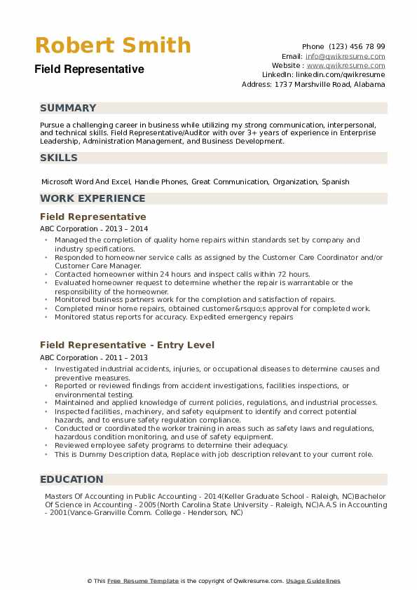 Field Representative Resume example
