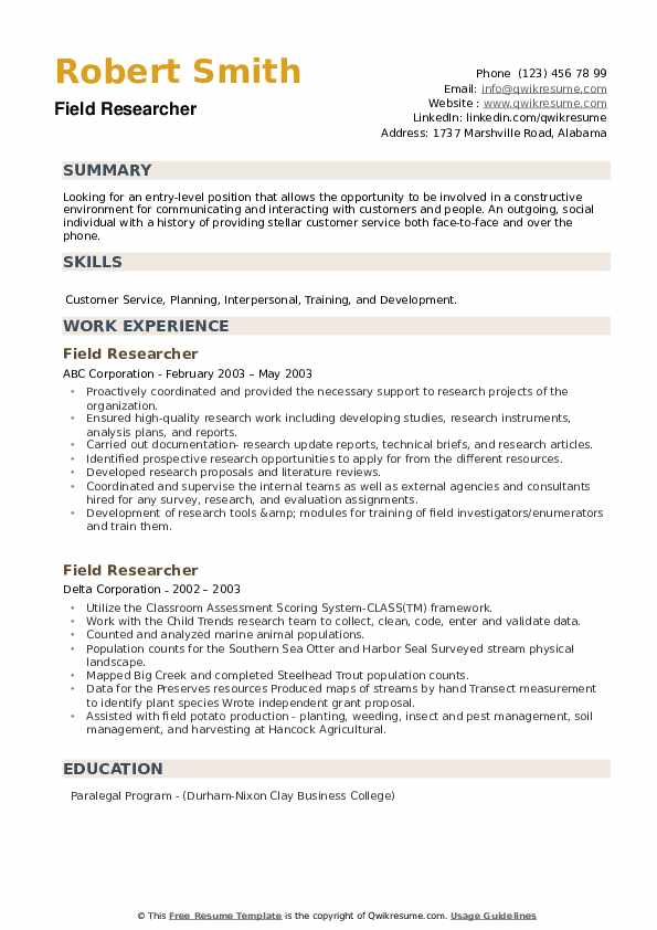 Field Researcher Resume example