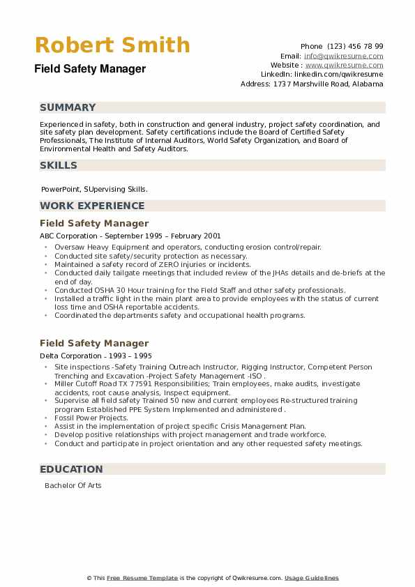Field Safety Manager Resume example