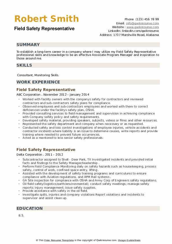 Field Safety Representative Resume example