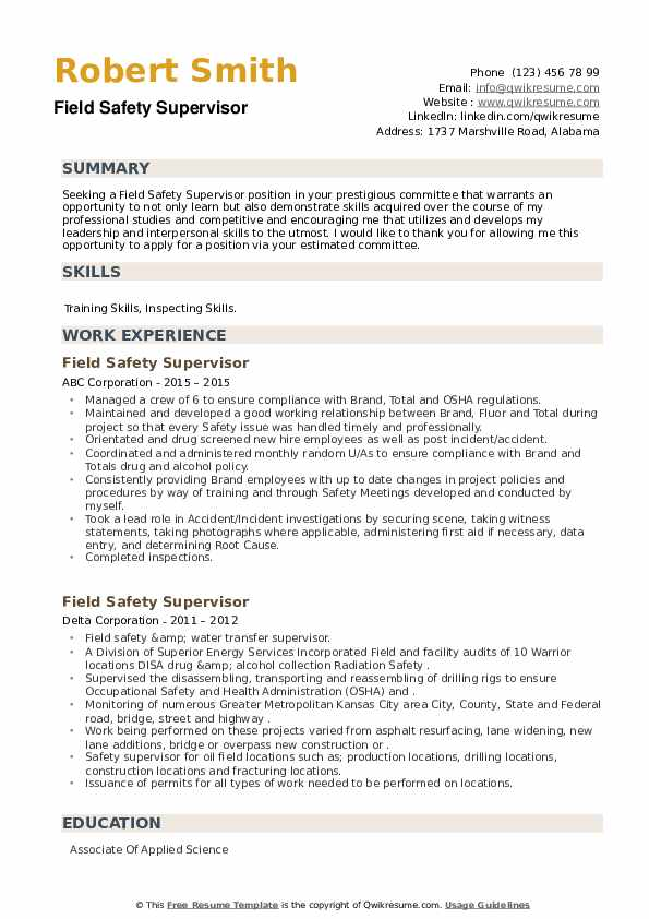 Field Safety Supervisor Resume example