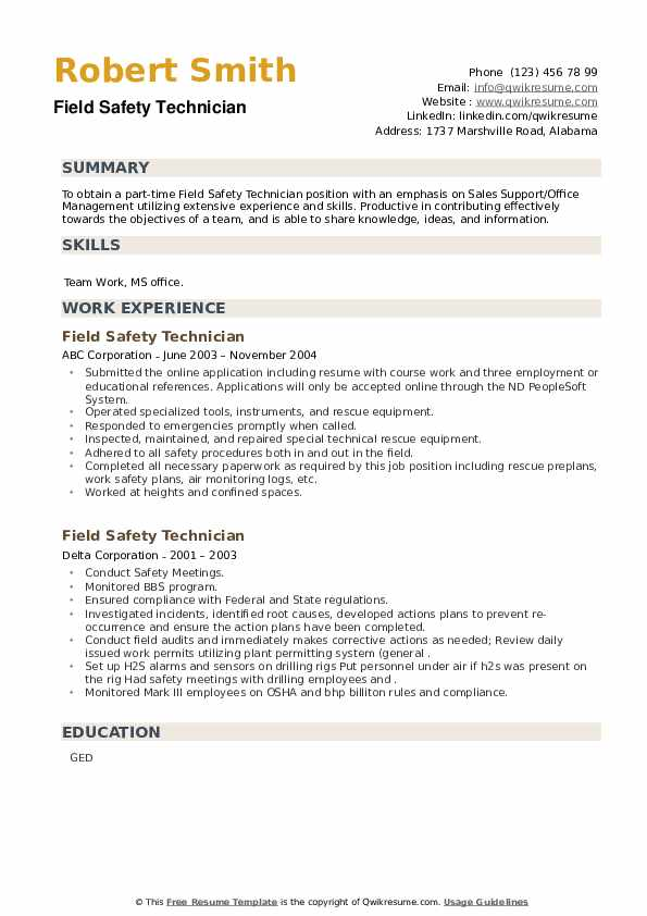 Field Safety Technician Resume example