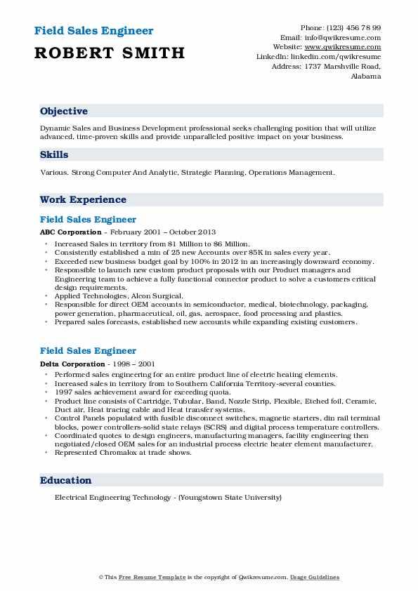 Field Sales Engineer Resume example