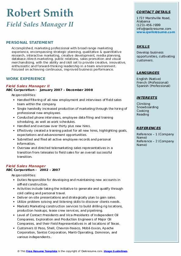 field sales manager resume samples