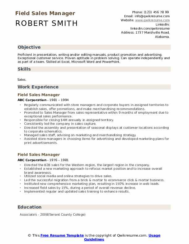 Field Sales Manager Resume example