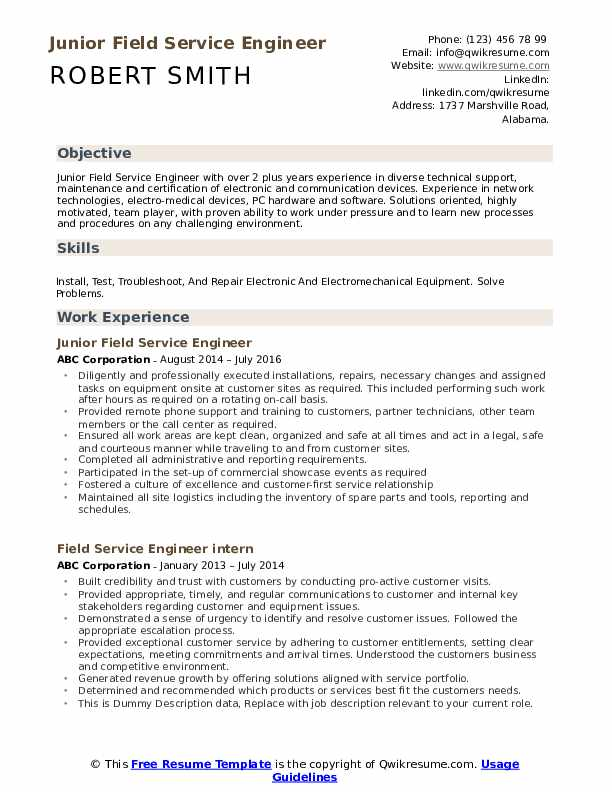 Field Service Engineer Resume Samples Qwikresume