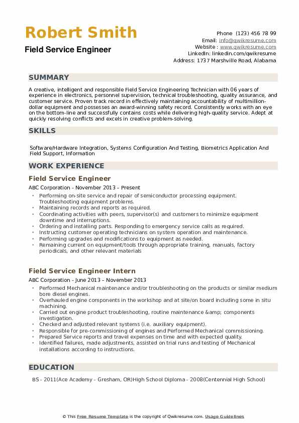 Field Service Engineer Resume example