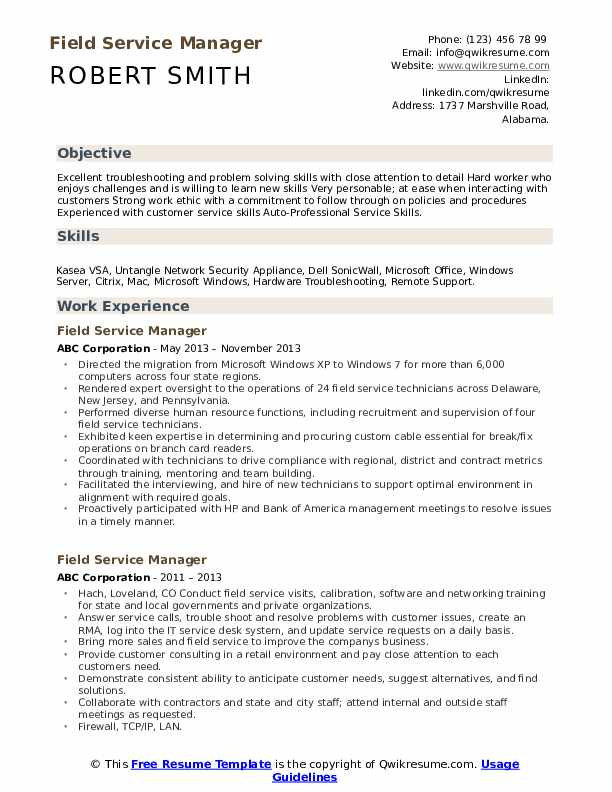 Field Service Manager Resume Example