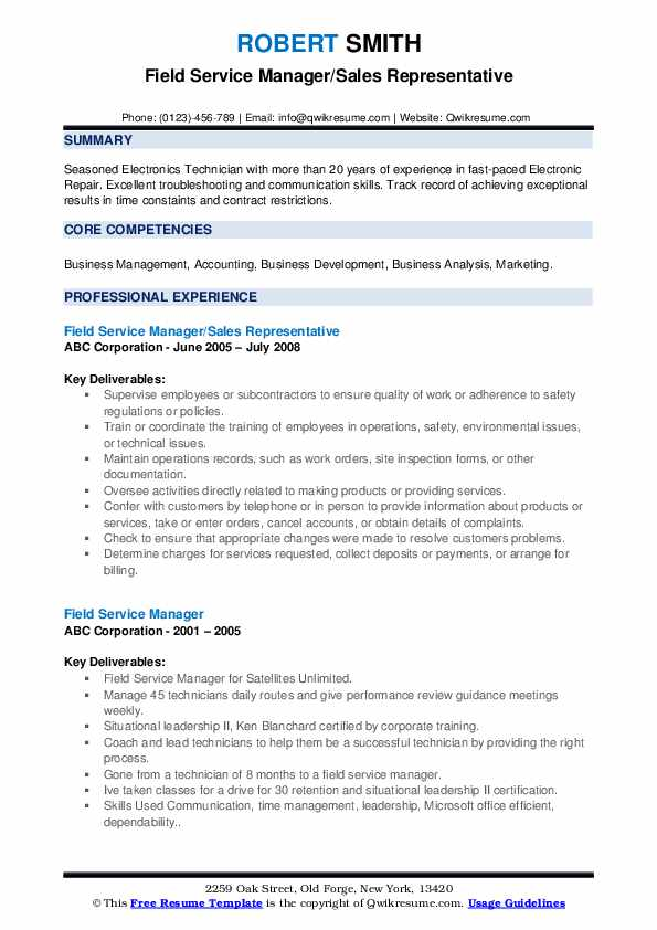 Field Service Manager/Sales Representative Resume Format