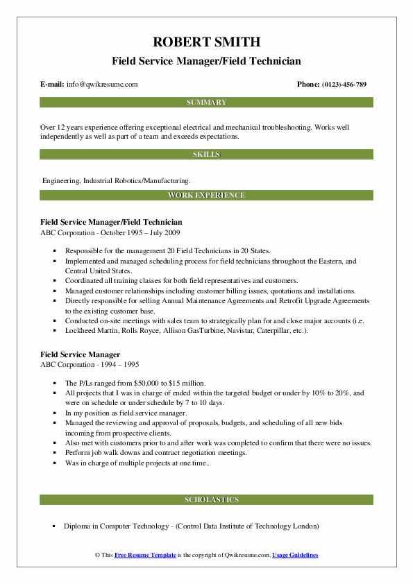 Field Service Manager/Field Technician Resume Template