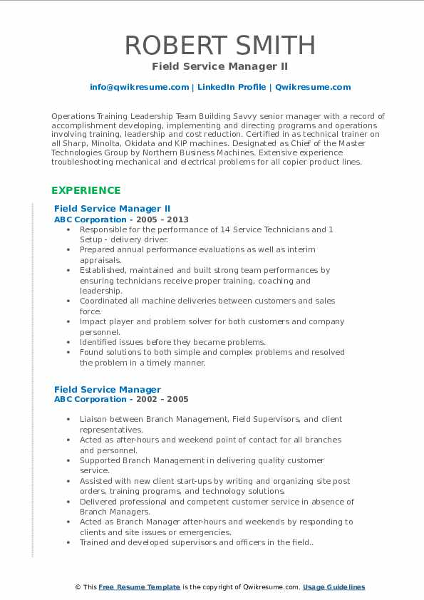 Field Service Manager II Resume Example