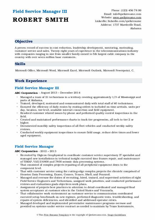 Field Service Manager III Resume Sample