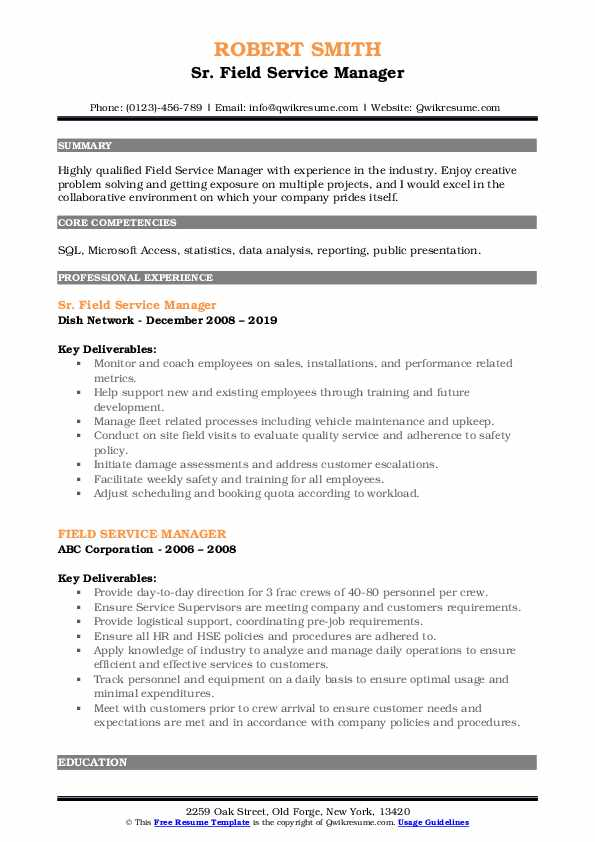 Sr. Field Service Manager Resume Example