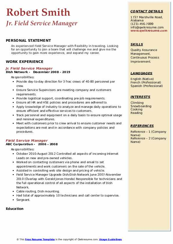 Jr. Field Service Manager  Resume Sample