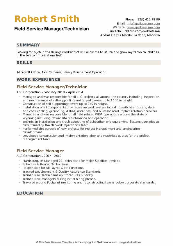 Field Service Manager/Technician Resume Example