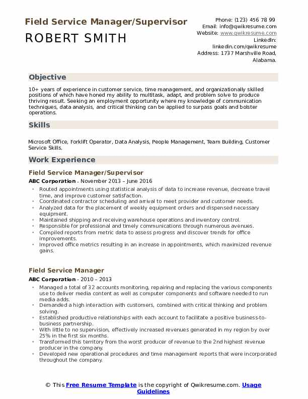 Field Service Manager/Supervisor Resume Format