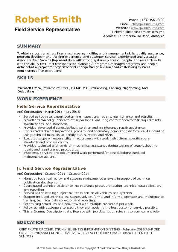 Field Service Representative Resume example