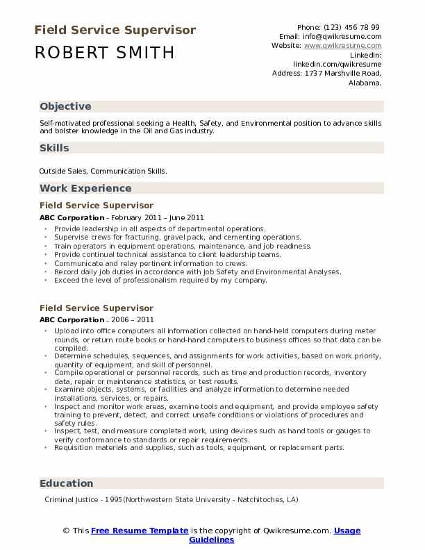 Field Service Supervisor Resume example