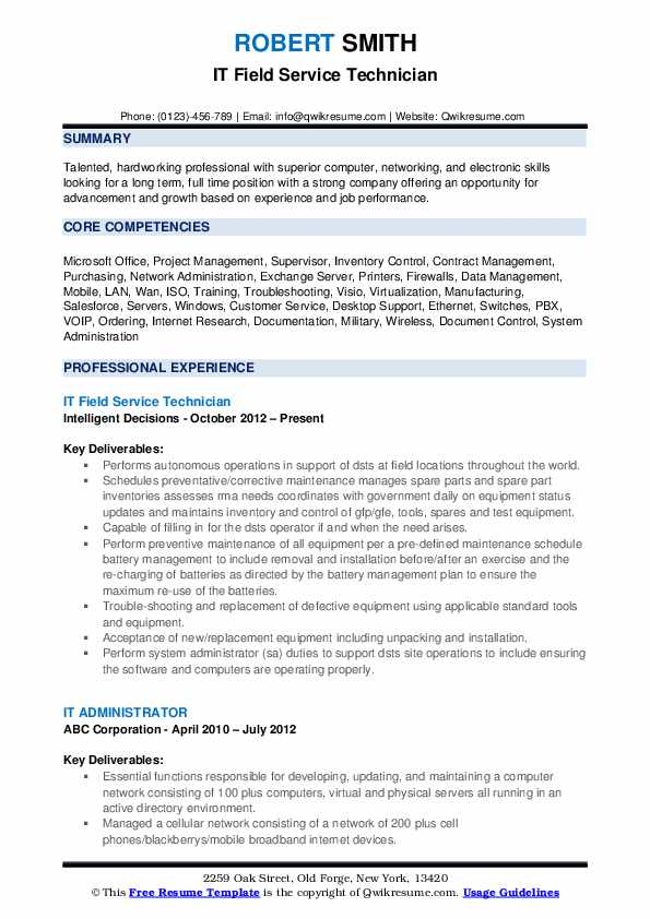 IT Field Service Technician Resume Sample