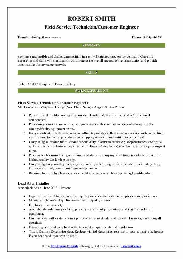 Field Service Technician/Customer Engineer Resume Model