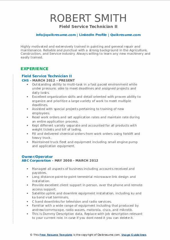 Field Service Technician II Resume Template