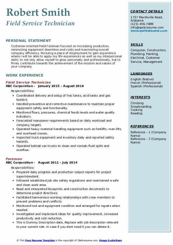 Field Service Technician Resume Model